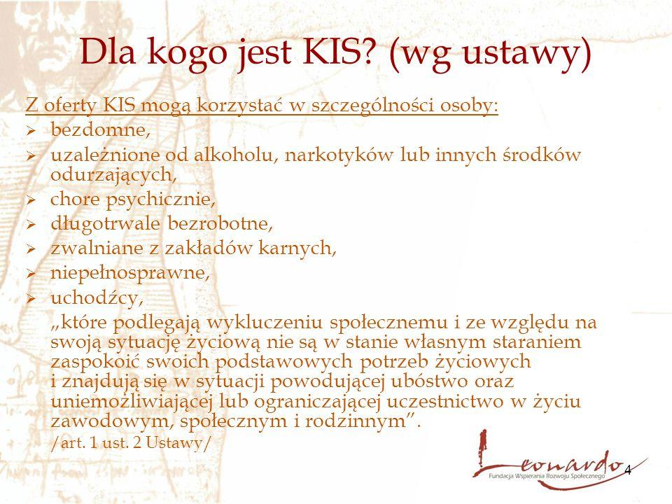 4 Dla kogo jest KIS? (wg ustawy) Z oferty KIS mogą korzystać w szczególności osoby:  bezdomne,  uzależnione od alkoholu, narkotyków lub innych środk