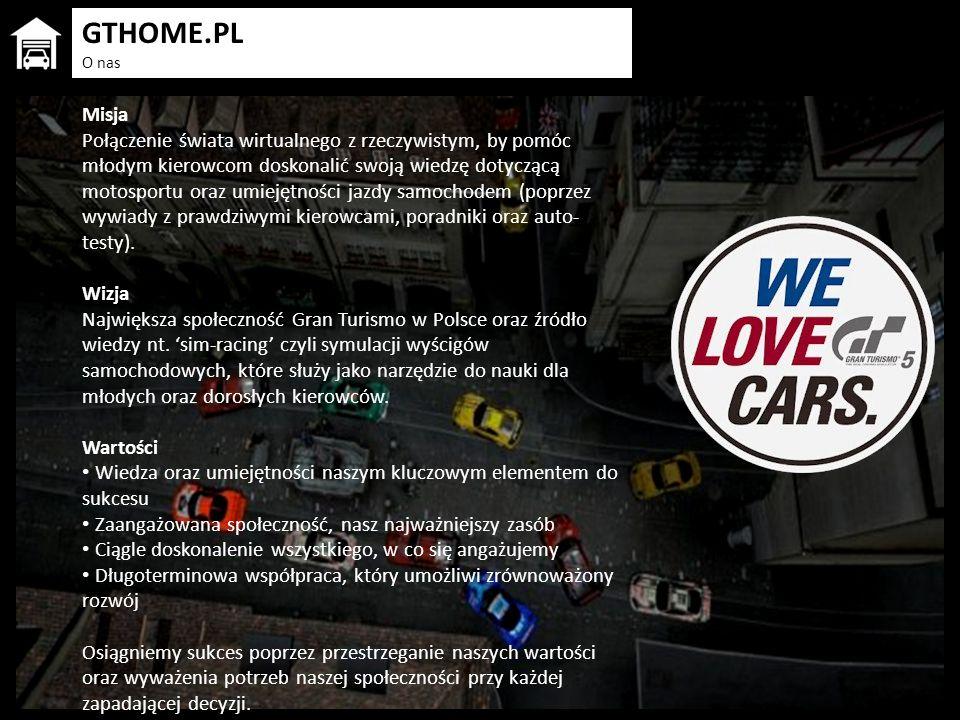 GTHOME.PL O nas Misja Połączenie świata wirtualnego z rzeczywistym, by pomóc młodym kierowcom doskonalić swoją wiedzę dotyczącą motosportu oraz umieję