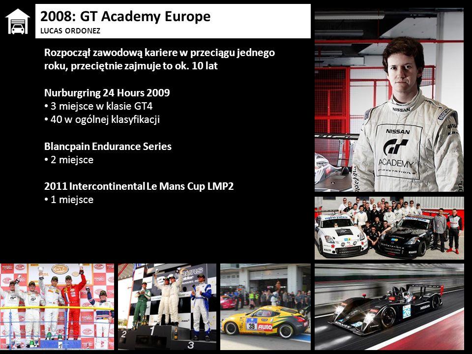 2008: GT Academy Europe LUCAS ORDONEZ Rozpoczął zawodową kariere w przeciągu jednego roku, przeciętnie zajmuje to ok. 10 lat Nurburgring 24 Hours 2009