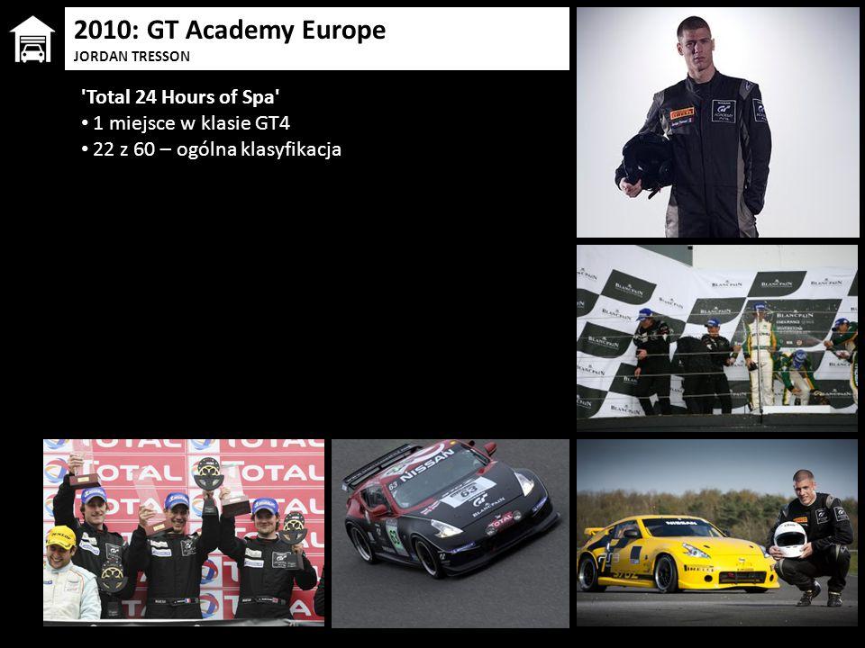 2010: GT Academy Europe JORDAN TRESSON 'Total 24 Hours of Spa' 1 miejsce w klasie GT4 22 z 60 – ogólna klasyfikacja