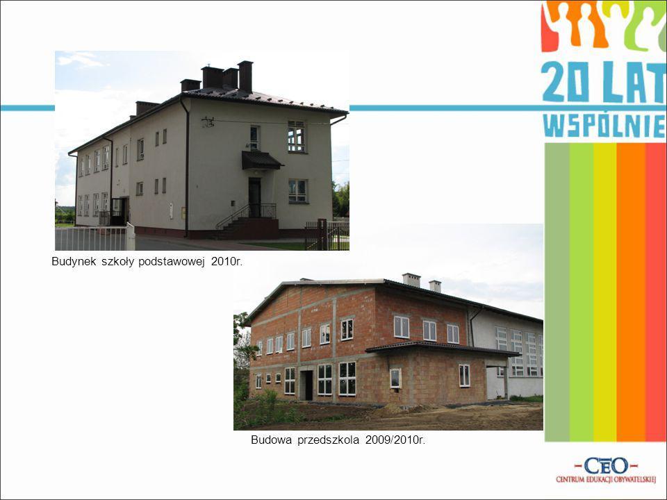 Budowa przedszkola 2009/2010r. Budynek szkoły podstawowej 2010r.