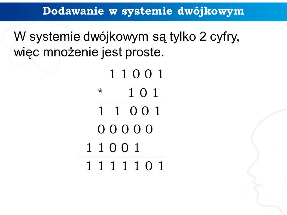 1 1 0 0 1 * 1 0 1 1 1 0 0 1 0 0 0 0 0 1 1 0 0 1 1 1 1 1 1 0 1 Dodawanie w systemie dwójkowym W systemie dwójkowym są tylko 2 cyfry, więc mnożenie jest proste.