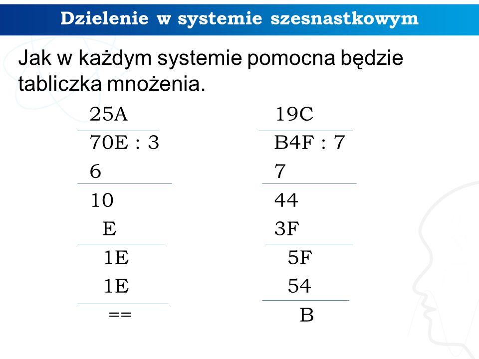 Dzielenie w systemie szesnastkowym 25A 70E : 3 6 10 E 1E == 19C B4F : 7 7 44 3F 5F 54 B Jak w każdym systemie pomocna będzie tabliczka mnożenia.