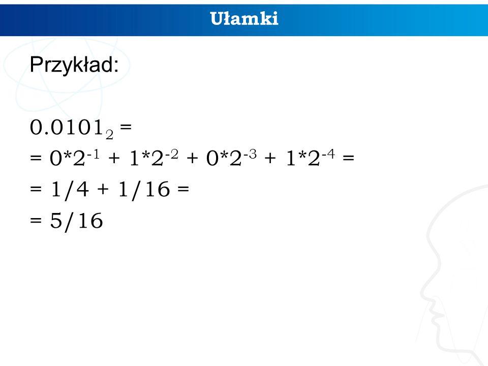 Ułamki Przykład: 0.0101 2 = = 0*2 -1 + 1*2 -2 + 0*2 -3 + 1*2 -4 = = 1/4 + 1/16 = = 5/16