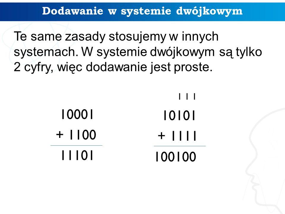 10001 + 1100 11101 Dodawanie w systemie dwójkowym 1 1 1 10101 + 1111 100100 Te same zasady stosujemy w innych systemach.