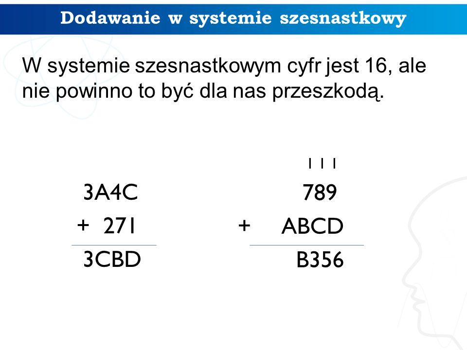 3A4C + 271 3CBD Dodawanie w systemie szesnastkowy 1 1 1 789 + ABCD B356 W systemie szesnastkowym cyfr jest 16, ale nie powinno to być dla nas przeszkodą.
