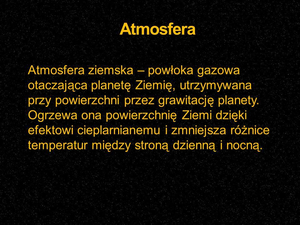Atmosfera Atmosfera ziemska – powłoka gazowa otaczająca planetę Ziemię, utrzymywana przy powierzchni przez grawitację planety. Ogrzewa ona powierzchni