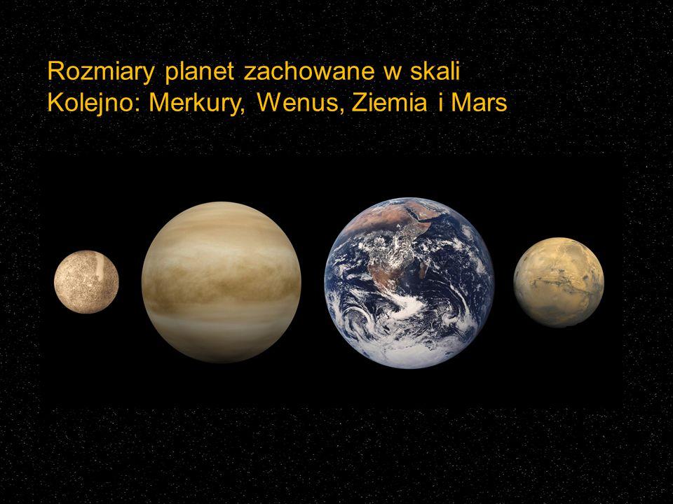 Rozmiary planet zachowane w skali Kolejno: Merkury, Wenus, Ziemia i Mars