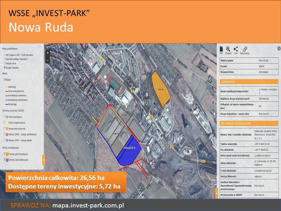 """WSSE """"INVEST-PARK"""" Nowa Ruda SPRAWDŹ NA: mapa.invest-park.com.pl Powierzchnia całkowita: 26,56 ha Dostępne tereny inwestycyjne: 5,72 ha Powierzchnia c"""