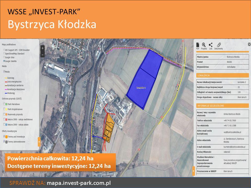 """WSSE """"INVEST-PARK"""" Bystrzyca Kłodzka SPRAWDŹ NA: mapa.invest-park.com.pl Powierzchnia całkowita: 12,24 ha Dostępne tereny inwestycyjne: 12,24 ha Powie"""