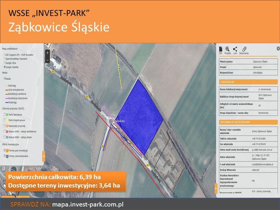 """WSSE """"INVEST-PARK"""" Ząbkowice Śląskie SPRAWDŹ NA: mapa.invest-park.com.pl Powierzchnia całkowita: 6,39 ha Dostępne tereny inwestycyjne: 3,64 ha Powierz"""