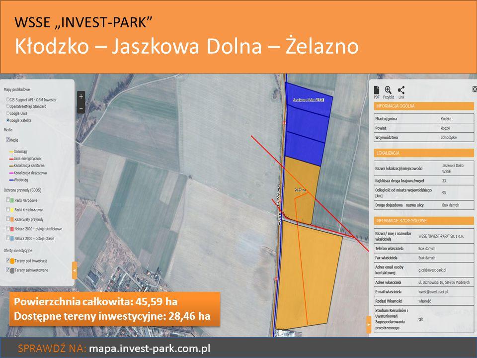 """WSSE """"INVEST-PARK"""" Kłodzko – Jaszkowa Dolna – Żelazno SPRAWDŹ NA: mapa.invest-park.com.pl Powierzchnia całkowita: 45,59 ha Dostępne tereny inwestycyjn"""