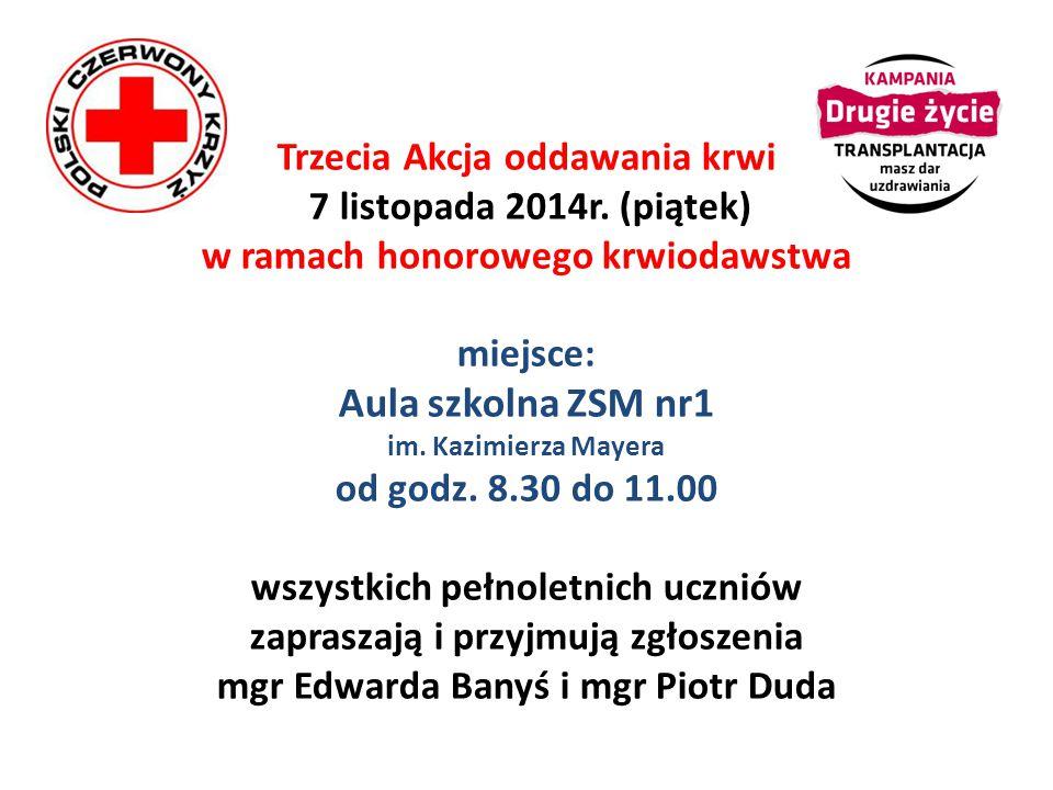 Trzecia Akcja oddawania krwi 7 listopada 2014r.