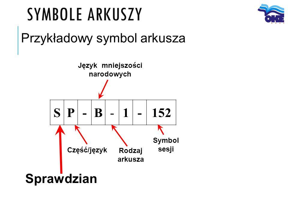 SYMBOLE ARKUSZY Sprawdzian Przykładowy symbol arkusza Część/język Symbol sesji Rodzaj arkusza SP-B-1-152 Język mniejszości narodowych