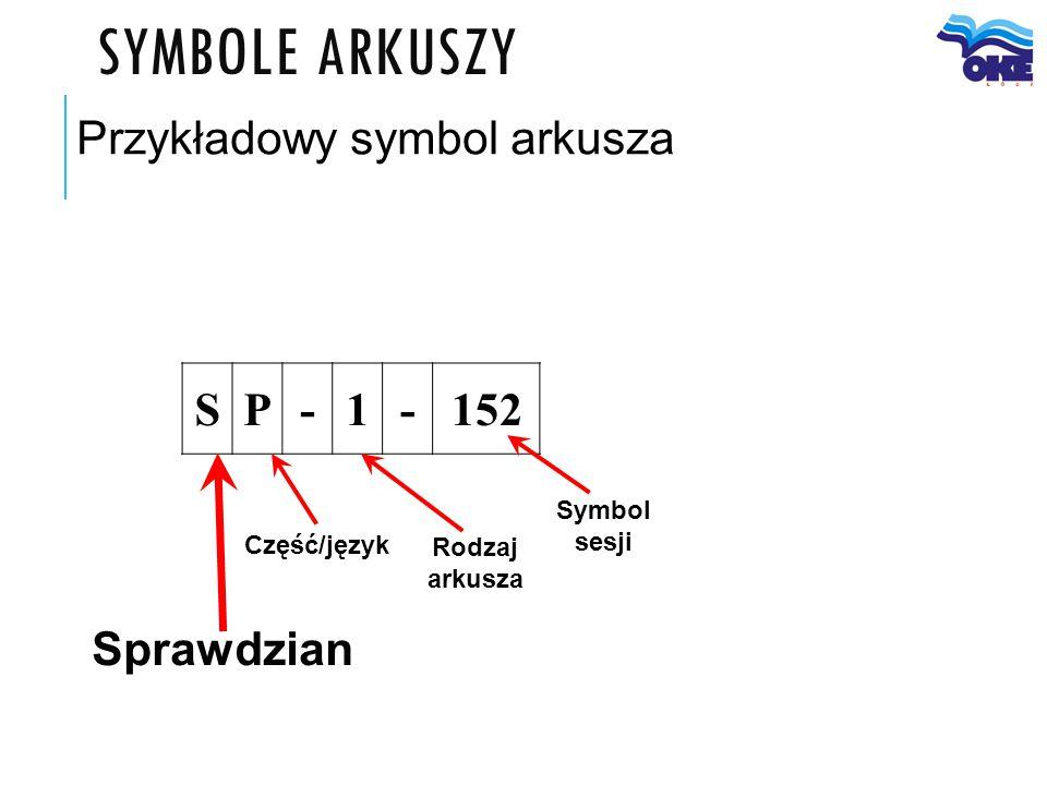 SYMBOLE ARKUSZY Sprawdzian Przykładowy symbol arkusza Część/język Symbol sesji Rodzaj arkusza SP-1-152