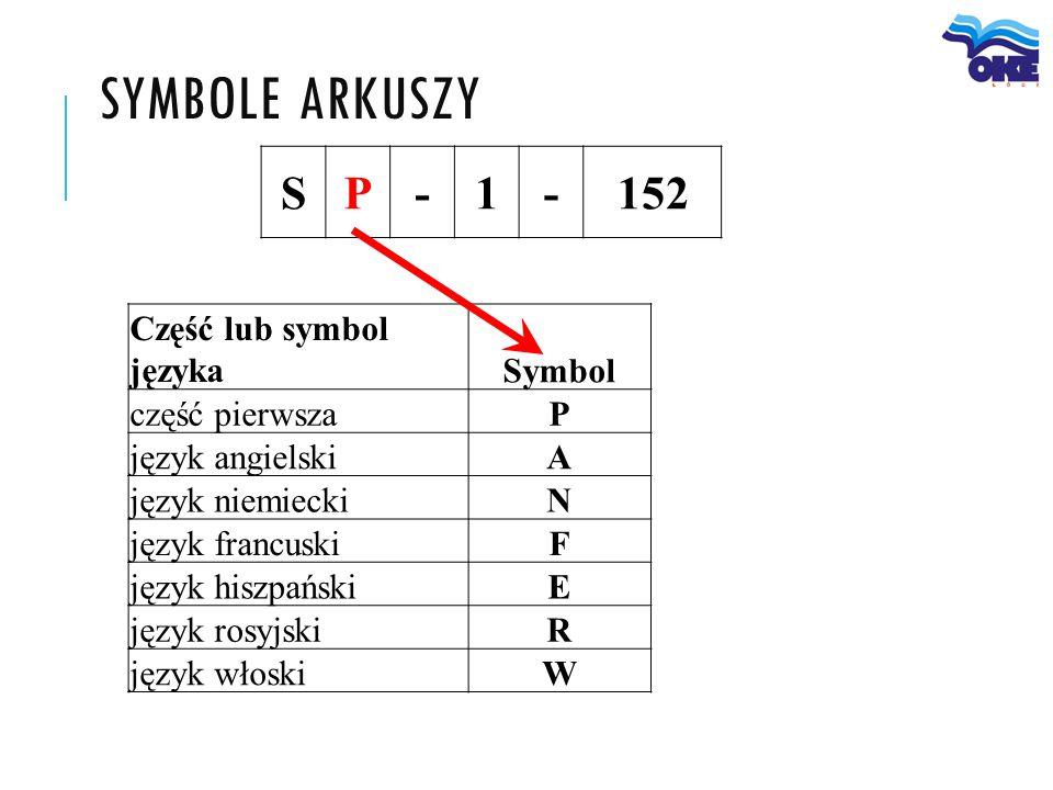 SYMBOLE ARKUSZY SP-1-152 Część lub symbol językaSymbol część pierwszaP język angielskiA język niemieckiN język francuskiF język hiszpańskiE język rosy