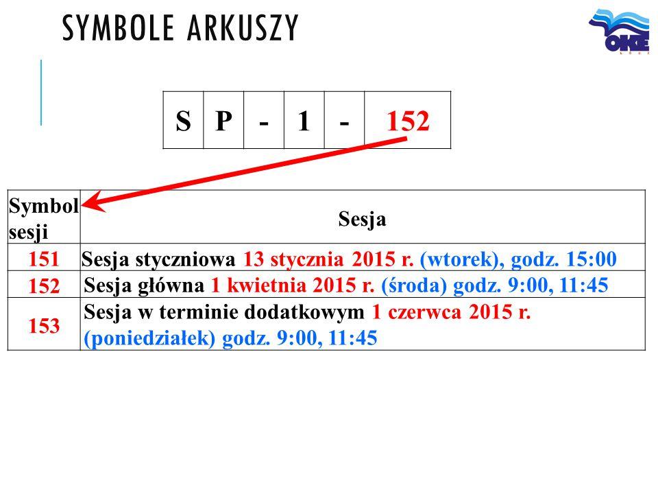 SYMBOLE ARKUSZY SP-1-152 Symbol sesji Sesja 151 Sesja styczniowa 13 stycznia 2015 r. (wtorek), godz. 15:00 152 Sesja główna 1 kwietnia 2015 r. (środa)