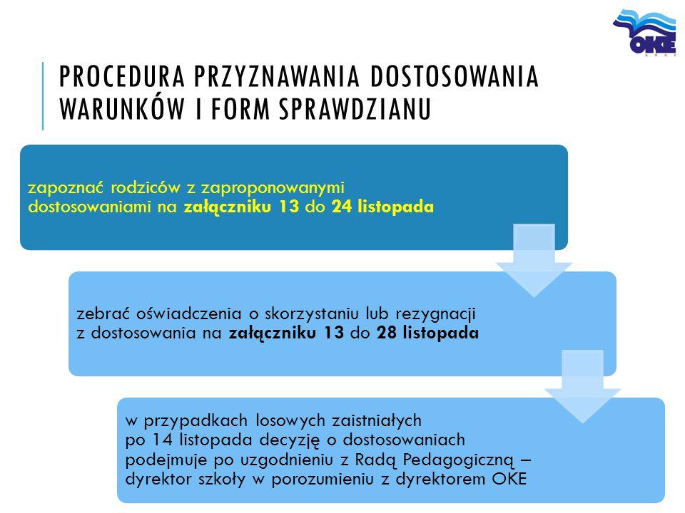 PROCEDURA PRZYZNAWANIA DOSTOSOWANIA WARUNKÓW I FORM SPRAWDZIANU zapoznać rodziców z zaproponowanymi dostosowaniami na załączniku 13 do 24 listopada ze