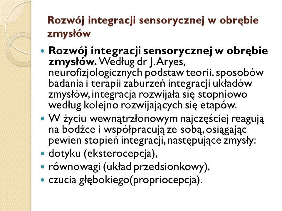 Rozwój integracji sensorycznej w obrębie zmysłów Rozwój integracji sensorycznej w obrębie zmysłów. Według dr J. Aryes, neurofizjologicznych podstaw te