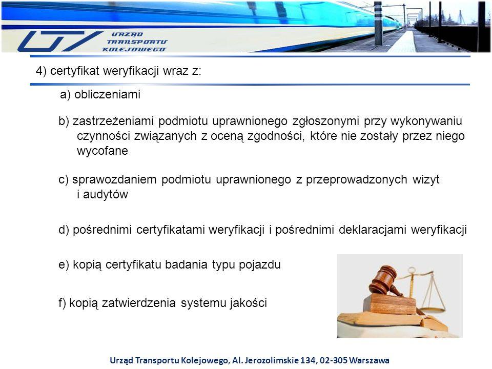 Urząd Transportu Kolejowego, Al. Jerozolimskie 134, 02-305 Warszawa c) sprawozdaniem podmiotu uprawnionego z przeprowadzonych wizyt i audytów d) pośre