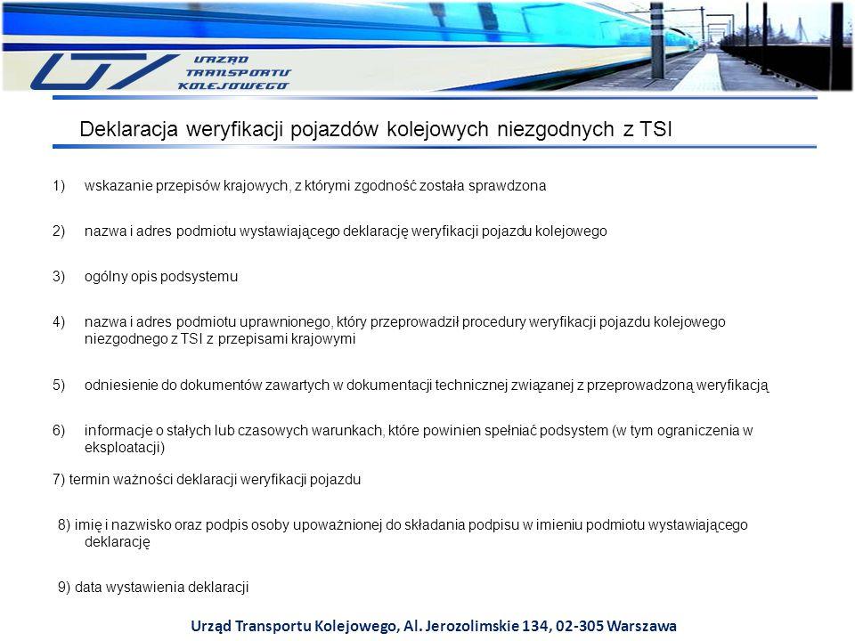 Urząd Transportu Kolejowego, Al. Jerozolimskie 134, 02-305 Warszawa Deklaracja weryfikacji pojazdów kolejowych niezgodnych z TSI 1)wskazanie przepisów