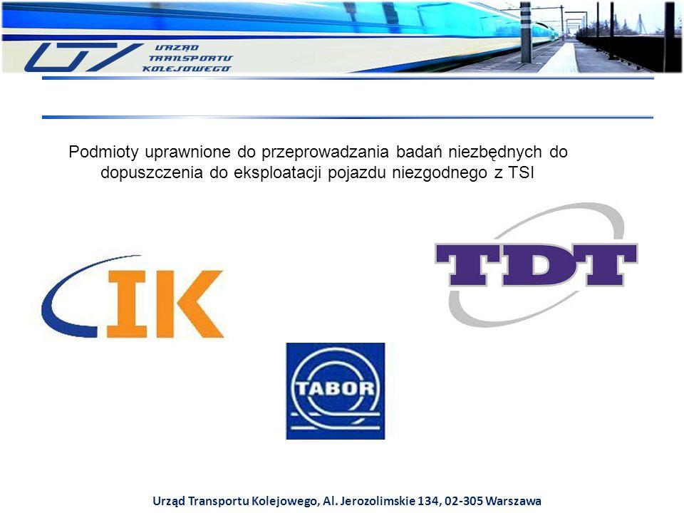 Urząd Transportu Kolejowego, Al. Jerozolimskie 134, 02-305 Warszawa Podmioty uprawnione do przeprowadzania badań niezbędnych do dopuszczenia do eksplo