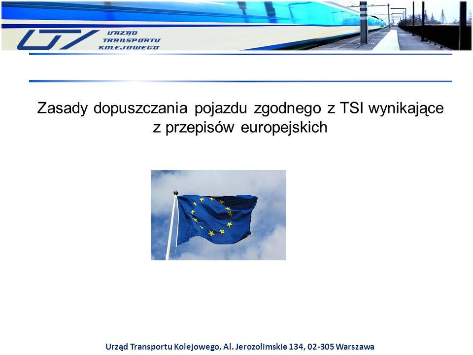 Urząd Transportu Kolejowego, Al. Jerozolimskie 134, 02-305 Warszawa Zasady dopuszczania pojazdu zgodnego z TSI wynikające z przepisów europejskich