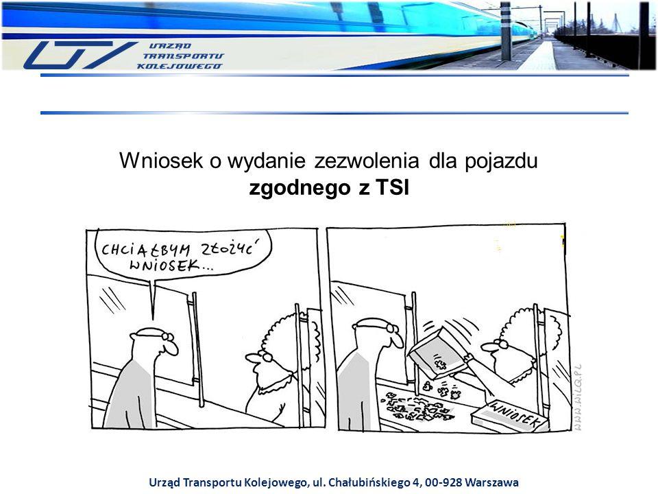 Urząd Transportu Kolejowego, ul. Chałubińskiego 4, 00-928 Warszawa Wniosek o wydanie zezwolenia dla pojazdu zgodnego z TSI