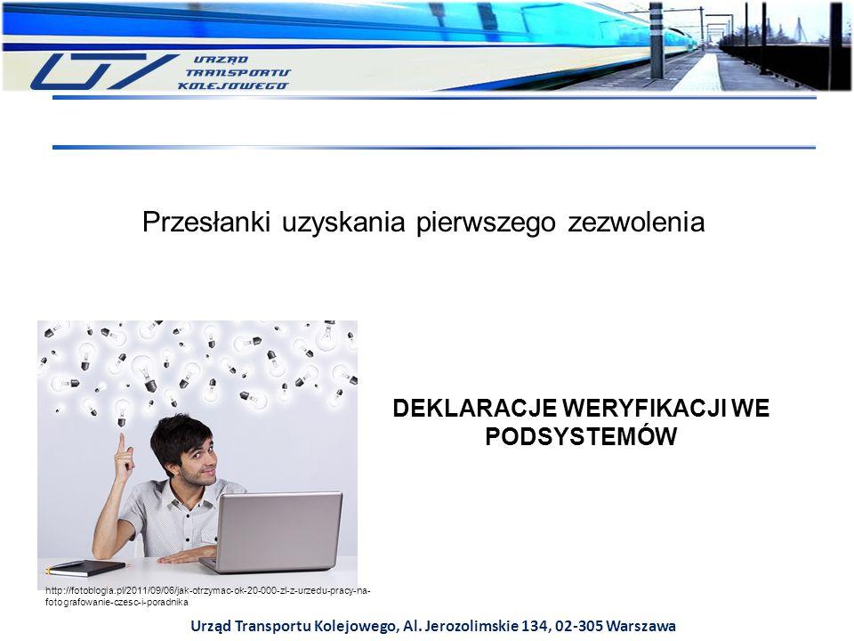 Urząd Transportu Kolejowego, Al. Jerozolimskie 134, 02-305 Warszawa Przesłanki uzyskania pierwszego zezwolenia DEKLARACJE WERYFIKACJI WE PODSYSTEMÓW h