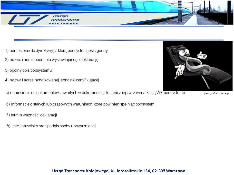 Urząd Transportu Kolejowego, Al. Jerozolimskie 134, 02-305 Warszawa 1) odniesienie do dyrektywy, z którą podsystem jest zgodny 2) nazwa i adres podmio