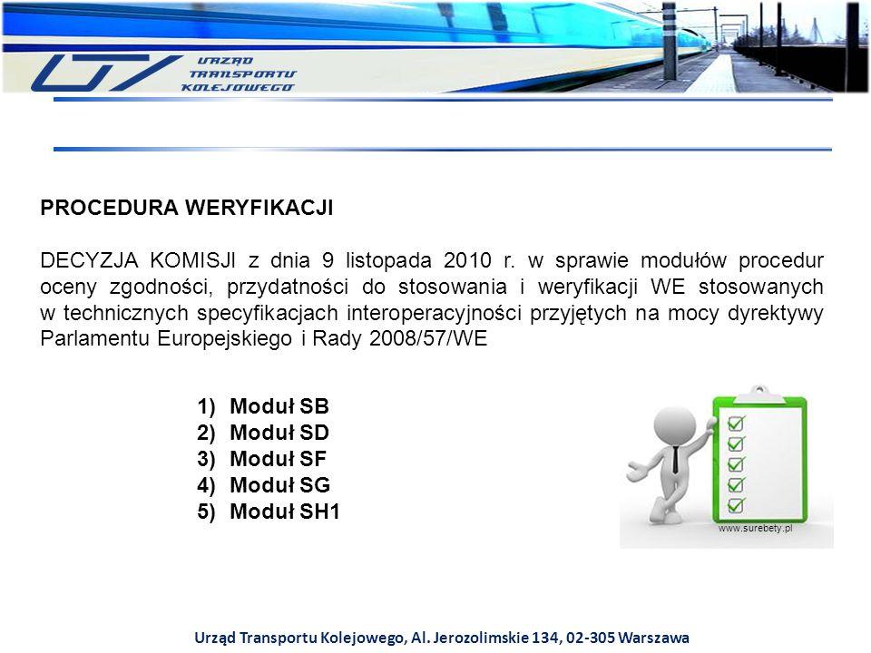 Urząd Transportu Kolejowego, Al. Jerozolimskie 134, 02-305 Warszawa www.surebety.pl PROCEDURA WERYFIKACJI DECYZJA KOMISJI z dnia 9 listopada 2010 r. w