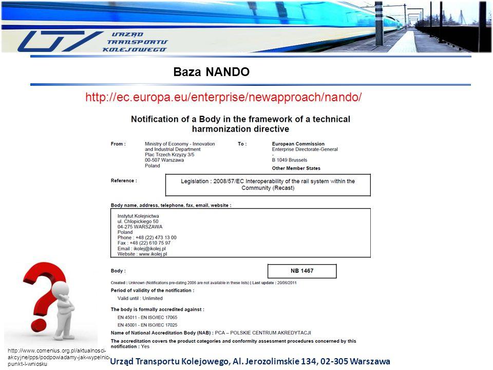 Urząd Transportu Kolejowego, Al. Jerozolimskie 134, 02-305 Warszawa Baza NANDO http://ec.europa.eu/enterprise/newapproach/nando/ http://www.comenius.o