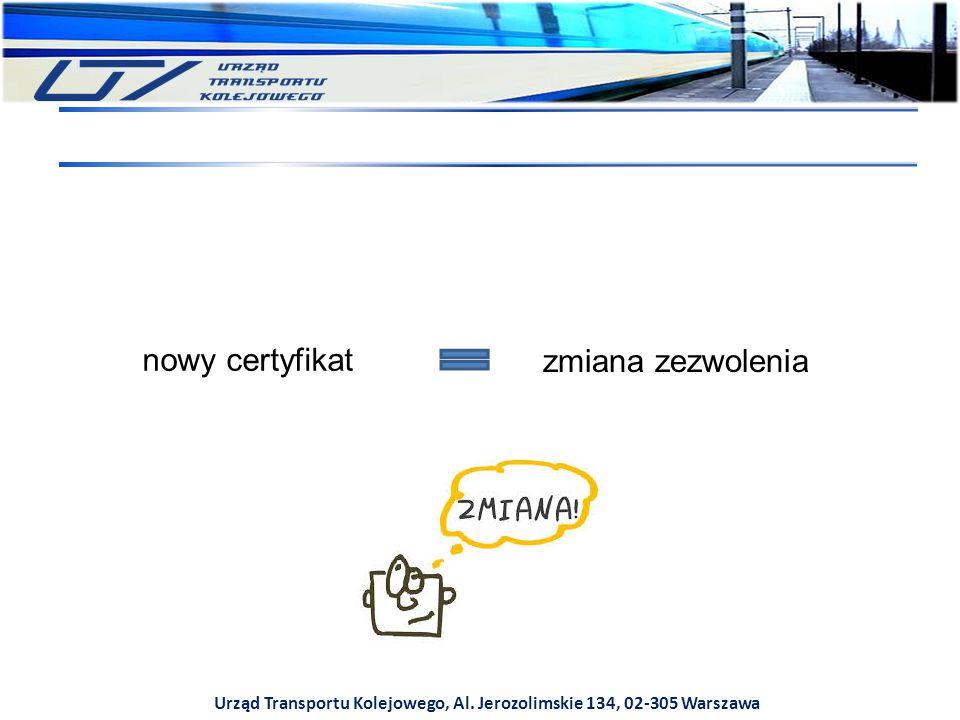 Urząd Transportu Kolejowego, Al. Jerozolimskie 134, 02-305 Warszawa nowy certyfikat zmiana zezwolenia