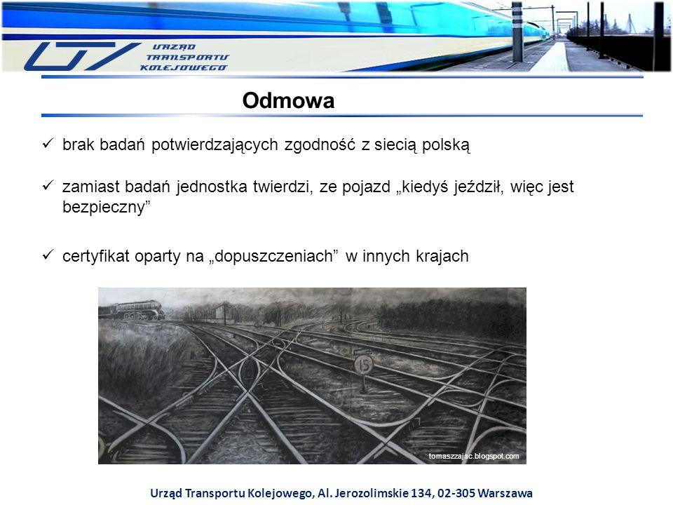 Urząd Transportu Kolejowego, Al. Jerozolimskie 134, 02-305 Warszawa Odmowa brak badań potwierdzających zgodność z siecią polską zamiast badań jednostk