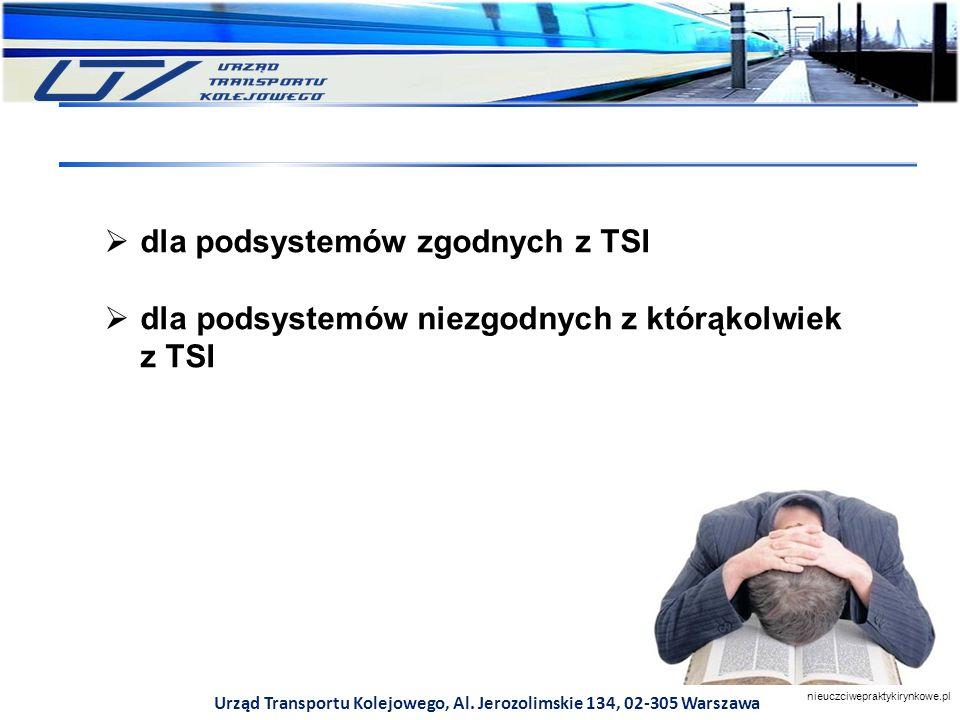 Urząd Transportu Kolejowego, Al. Jerozolimskie 134, 02-305 Warszawa  dla podsystemów zgodnych z TSI  dla podsystemów niezgodnych z którąkolwiek z TS