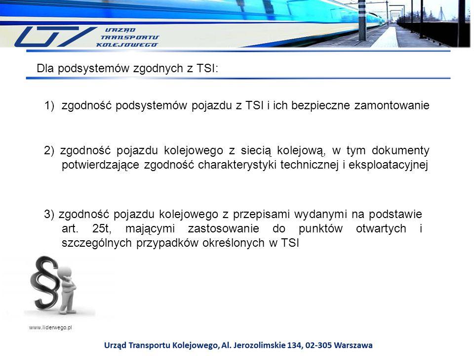 Dla podsystemów zgodnych z TSI: 1)zgodność podsystemów pojazdu z TSI i ich bezpieczne zamontowanie 2) zgodność pojazdu kolejowego z siecią kolejową, w