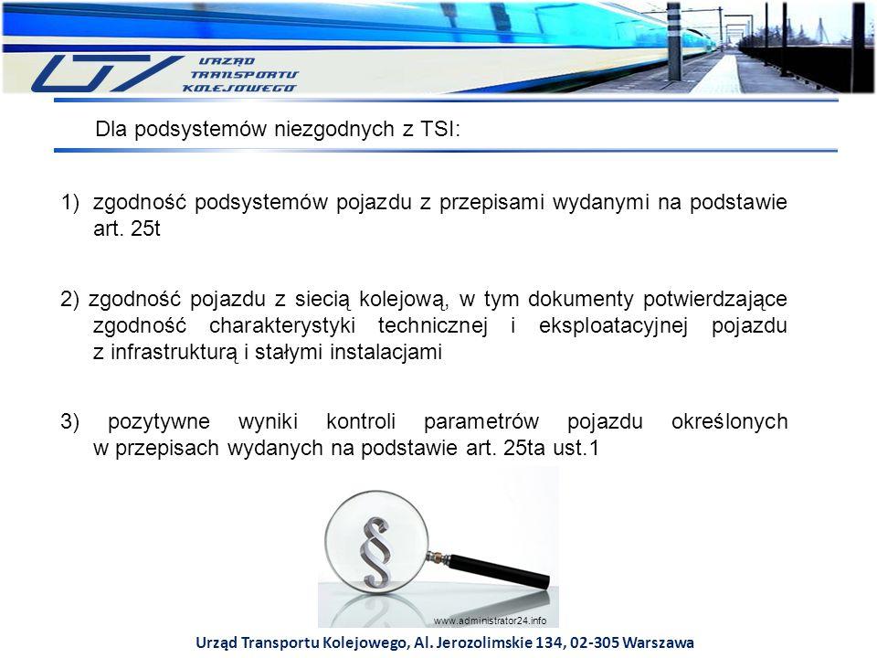 Urząd Transportu Kolejowego, Al. Jerozolimskie 134, 02-305 Warszawa Dla podsystemów niezgodnych z TSI: 1)zgodność podsystemów pojazdu z przepisami wyd