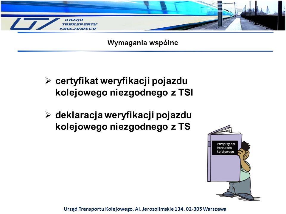 Urząd Transportu Kolejowego, Al. Jerozolimskie 134, 02-305 Warszawa Wymagania wspólne  certyfikat weryfikacji pojazdu kolejowego niezgodnego z TSI 
