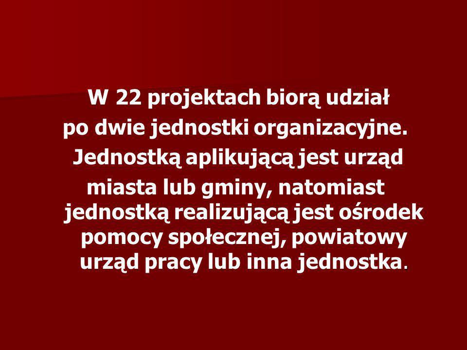 W 22 projektach biorą udział po dwie jednostki organizacyjne. Jednostką aplikującą jest urząd. miasta lub gminy, natomiast jednostką realizującą jest