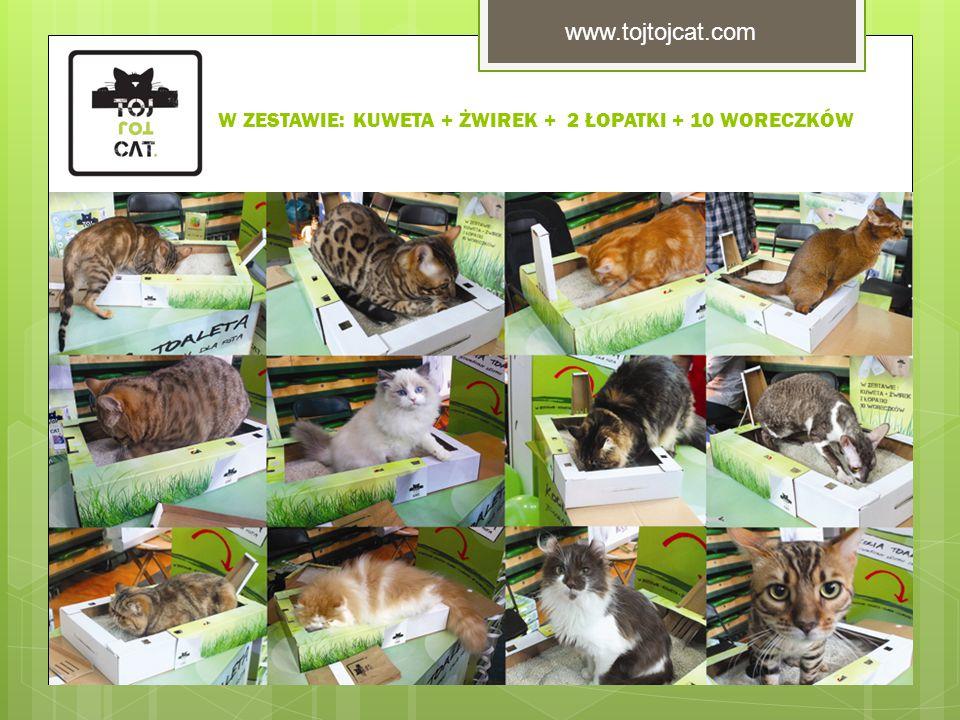 W ZESTAWIE: KUWETA + ŻWIREK + 2 ŁOPATKI + 10 WORECZKÓW www.tojtojcat.com