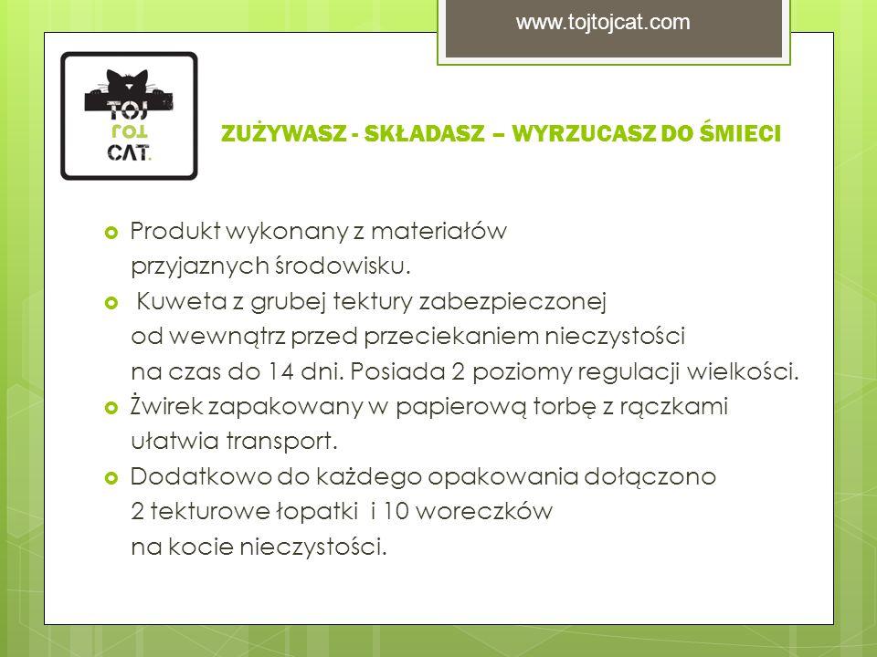 ZUŻYWASZ - SKŁADASZ – WYRZUCASZ DO ŚMIECI  Produkt wykonany z materiałów przyjaznych środowisku.