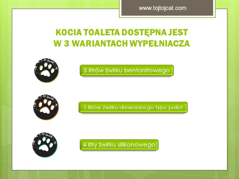 KOCIA TOALETA DOSTĘPNA JEST W 3 WARIANTACH WYPEŁNIACZA 5 litrów żwirku bentonitowego 5 litrów żwirku drewnianego typu pellet 4 litry żwirku silikonowego www.tojtojcat.com