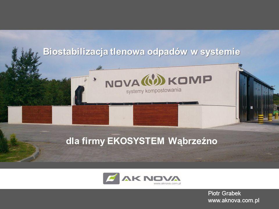 Piotr Grabek www.aknova.com.pl Biostabilizacja tlenowa odpadów w systemie dla firmy EKOSYSTEM Wąbrzeźno