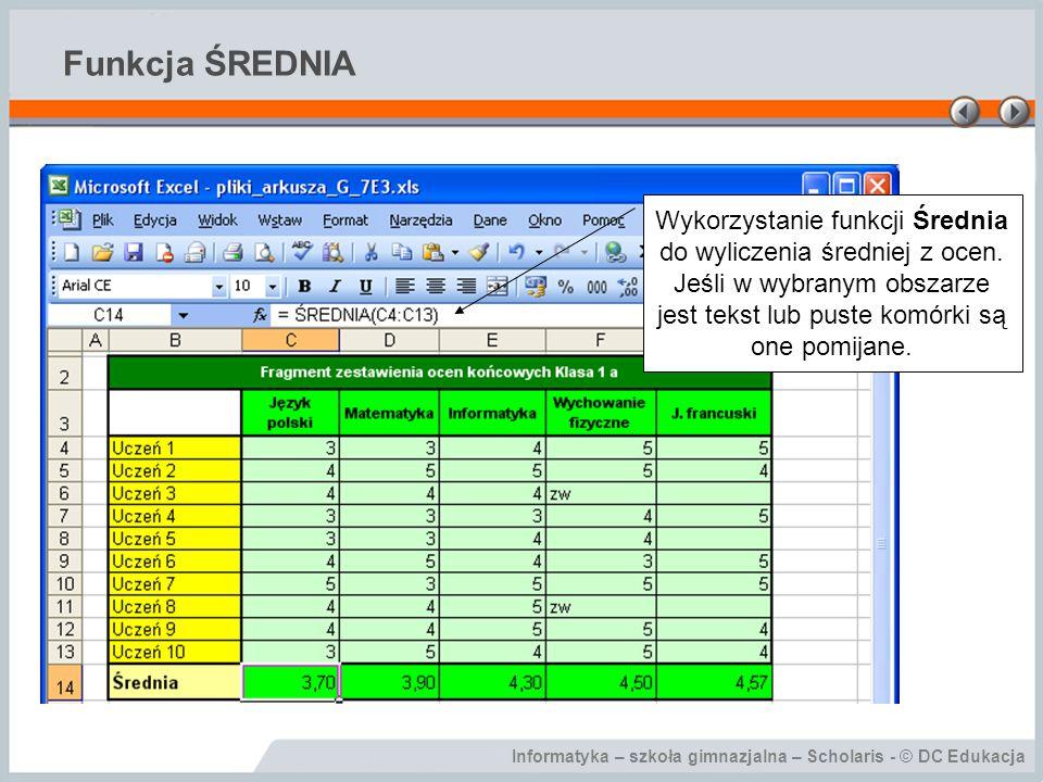 Informatyka – szkoła gimnazjalna – Scholaris - © DC Edukacja Funkcja ŚREDNIA Wykorzystanie funkcji Średnia do wyliczenia średniej z ocen.