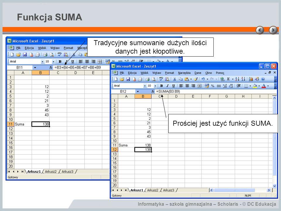 Informatyka – szkoła gimnazjalna – Scholaris - © DC Edukacja Funkcja SUMA Tradycyjne sumowanie dużych ilości danych jest kłopotliwe.