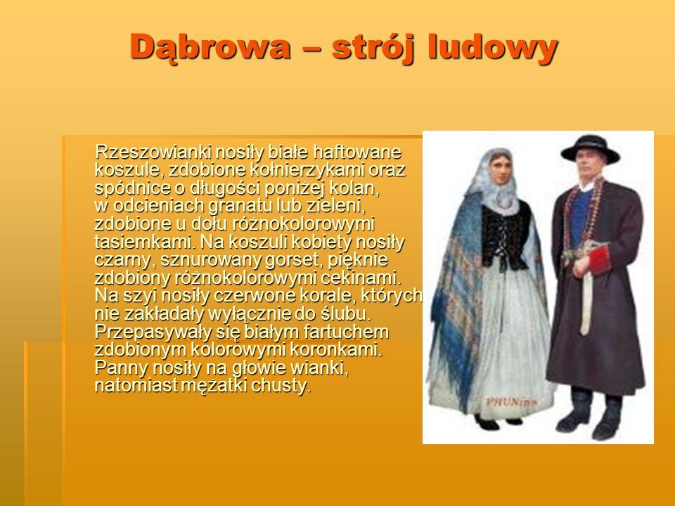 Dąbrowa – strój ludowy Rzeszowianki nosiły białe haftowane koszule, zdobione kołnierzykami oraz spódnice o długości poniżej kolan, w odcieniach granatu lub zieleni, zdobione u dołu różnokolorowymi tasiemkami.