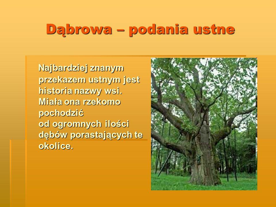 Dąbrowa – podania ustne Najbardziej znanym przekazem ustnym jest historia nazwy wsi.