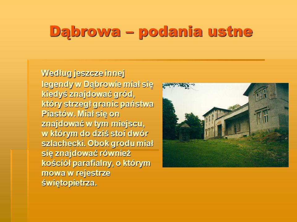 Dąbrowa – podania ustne Według jeszcze innej legendy w Dąbrowie miał się kiedyś znajdować gród, który strzegł granic państwa Piastów.