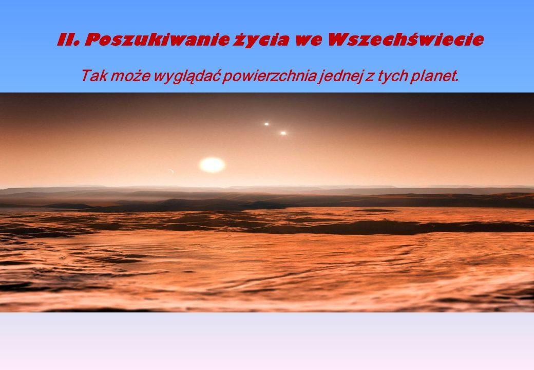 2.Poszukiwanie życia we Wszechświecie Tak może wyglądać powierzchnia jednej z nich II.Poszukiwanie życia we Wszechświecie Tak może wyglądać powierzchnia jednej z tych planet.