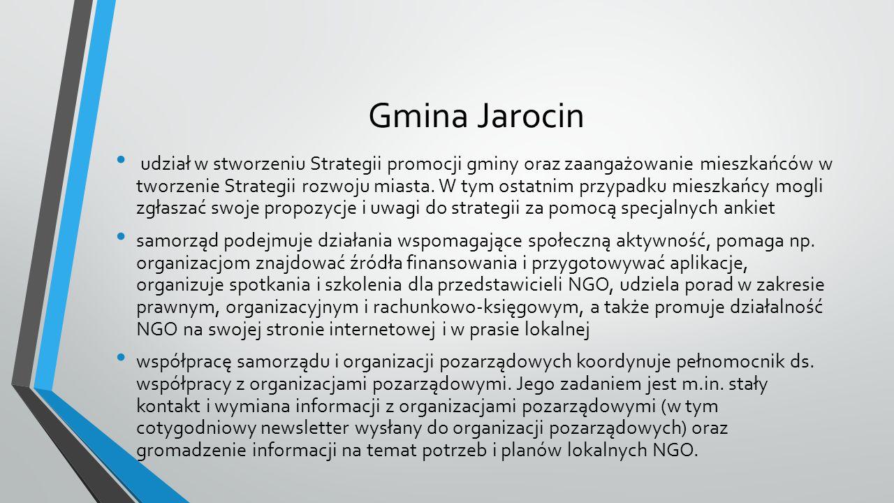 Gmina Jarocin udział w stworzeniu Strategii promocji gminy oraz zaangażowanie mieszkańców w tworzenie Strategii rozwoju miasta. W tym ostatnim przypad